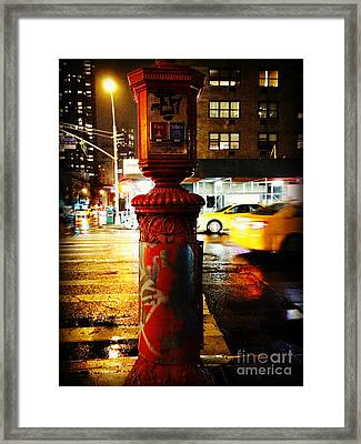Old - Fashioned Fire Alarm Police Call Box - New York City Framed Print