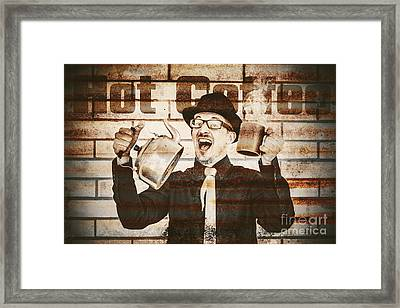 Old Fashioned Gent Cheering To Hot Coffee Framed Print