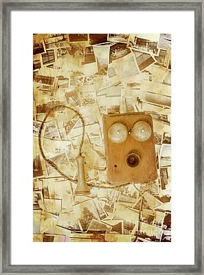 Old-fashioned Phone Set On Polaroid Photos Framed Print