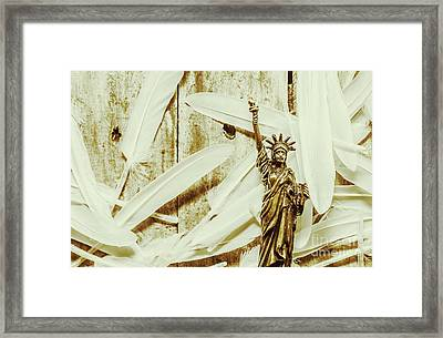 Old-fashioned Statue Of Liberty Monument Framed Print