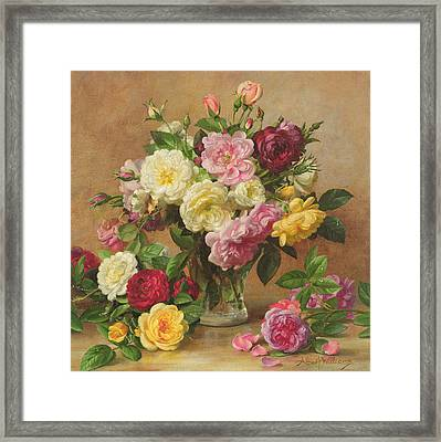 Old Fashioned Victorian Roses Framed Print by Albert Williams