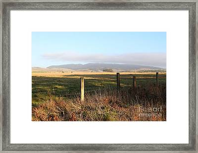 Old Fence And Landscape Along Sir Francis Drake Boulevard At Point Reyes California . 7d9965 Framed Print by Wingsdomain Art and Photography