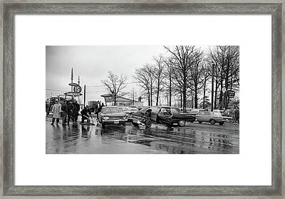 Old Fire Fighter Photo Framed Print