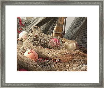 Old Fishing Nets With Floats Framed Print by Yali Shi