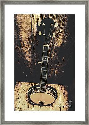 Old Folk Music Banjo Framed Print