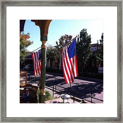 American Flags In Old Folsom Framed Print by Flo DiBona