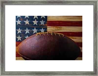 Old Football And Wood Flag Framed Print