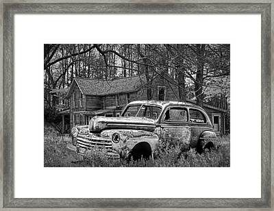 Old Ford Coupe In Black And White By An Abandoned Farm House Framed Print by Randall Nyhof