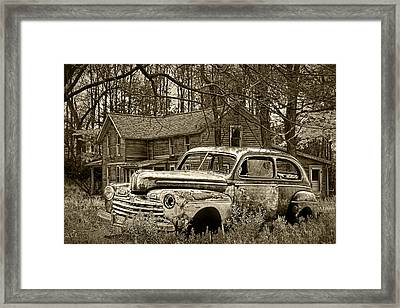 Old Ford Coupe In Sepia Tone Framed Print