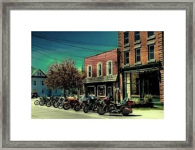 Old Forge Harley's - Vintage Postcard Framed Print