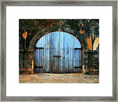 Old Fort Doors Framed Print by Perry Webster