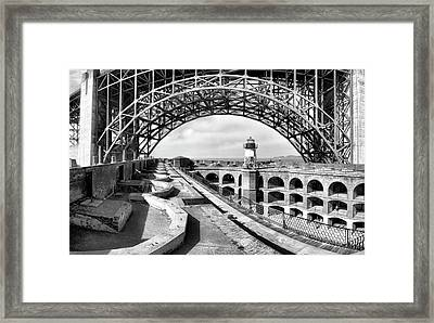 Old Fort Point Lighthouse Under The Golden Gate In Bw Framed Print