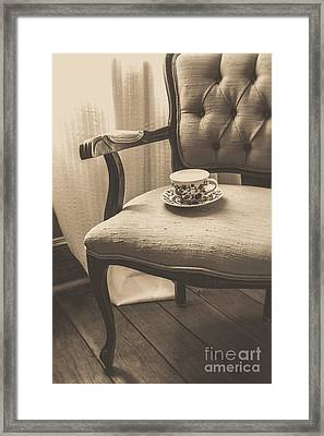 Old Friend China Tea Up On Chair Framed Print