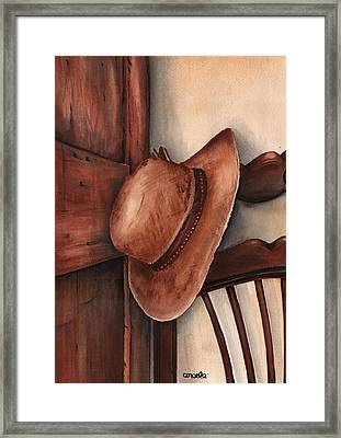 Old Garden Hat Framed Print by Angela Armano