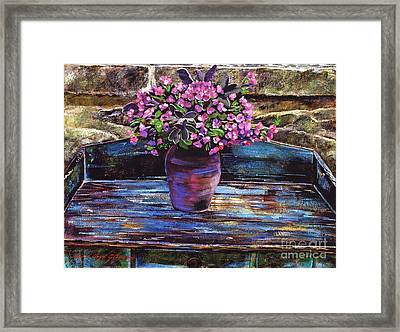 Old Garden Table Framed Print by David Lloyd Glover