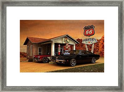 Framed Print featuring the photograph Old Gas Station American Muscle by Louis Ferreira