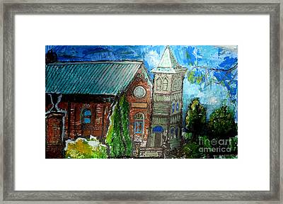 Old German Church In New Melle Missouri Framed Print by Genevieve Esson