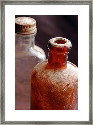 Old Glass Bottles Framed Print
