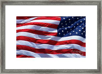 Framed Print featuring the photograph Stitches Old Glory American Flag Art by Reid Callaway