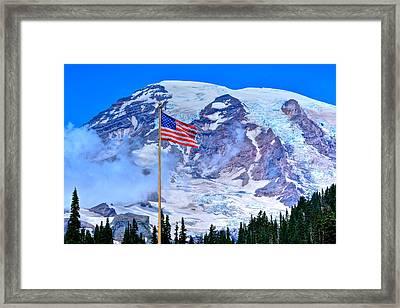 Old Glory At Mt. Rainier Framed Print