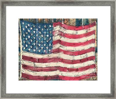 Framed Print featuring the painting Old Glory by Carrie Joy Byrnes