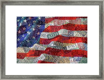 Old Glory In Recycled Vintage License Plates Framed Print by Design Turnpike