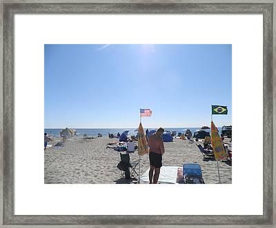 Old Glory Over The Ocean Framed Print