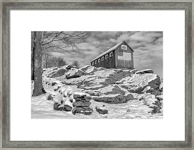 Old Glory Winter Bw Framed Print by Bill Wakeley