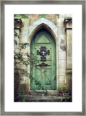 Old Gothic Door Framed Print by Carlos Caetano