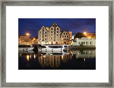 Old Granaries In City Of Bydgoszcz By Night Framed Print