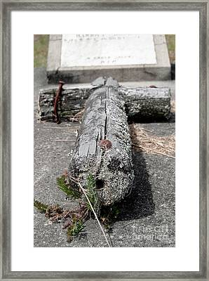 Framed Print featuring the photograph Old Graveyard Cross by Yurix Sardinelly