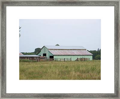 Old Green Barn    Washington State Framed Print by Laurie Kidd