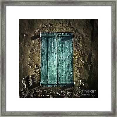 Old Green Shutters Closed Framed Print by Bernard Jaubert