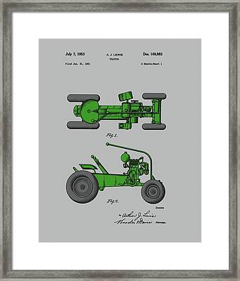Old Green Tractor Patent Framed Print by Dan Sproul