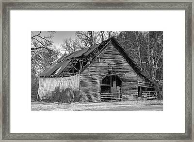 Old Grey Barn With Collapsed Roof Framed Print