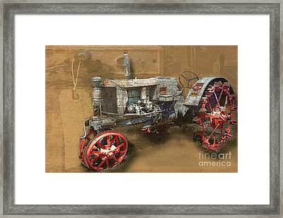 Old Grey Tractor Framed Print