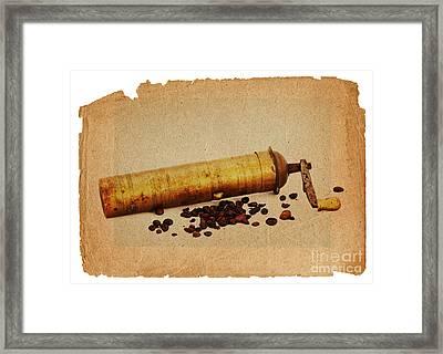Old Grinder And Beans Framed Print by Michal Boubin
