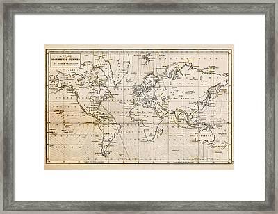 Old Hand Drawn Vintage World Map Framed Print by Richard Thomas