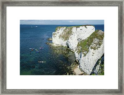 Old Harry Rocks Sea Kayak Tour Visiting The White Jurassic Cliffs On The Dorset Coast England Uk Framed Print by Andy Smy
