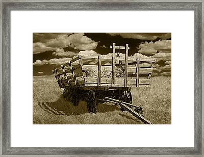 Old Hay Wagon In Sepia Framed Print by Randall Nyhof
