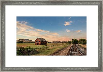 Old Homestead And The Train Tracks Framed Print