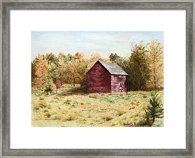 Old Homestead Barn Framed Print by Kathy Roberts