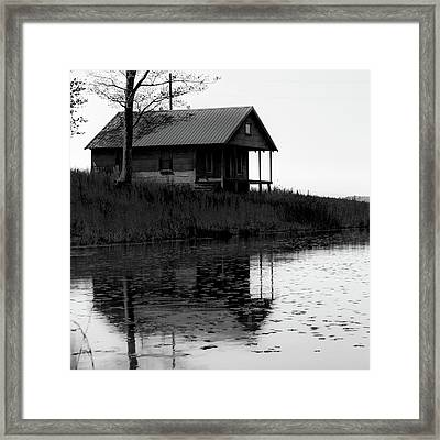 Old Homestead Reflections - Black And White Framed Print