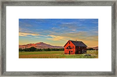 Old Homestead With Squaw Butte Framed Print