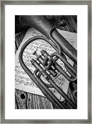 Old Horn And Sheet Music Framed Print by Garry Gay