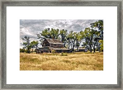 Old House And Barn Framed Print