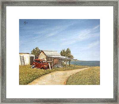 Framed Print featuring the painting Old House By The Sea by Natalia Tejera
