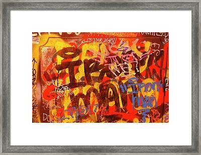 Old House Wall With Graffiti Framed Print