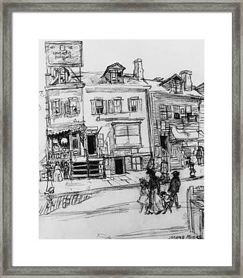 Old Houses, Clinton Street, New York Framed Print by Jerome Myers