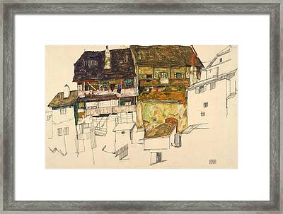 Old Houses In Krumau Framed Print by Egon Schiele